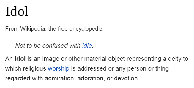 definition of idol according to Wikepedia
