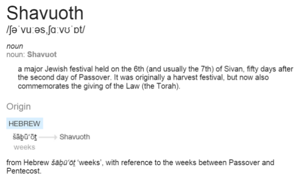 SHAVUOT FEAST OF WEEKS according to Google