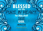 Blessed are the pure in heart for they shall see God