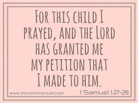 Scripture Verses for Parents 1 Samuel 1:27-28